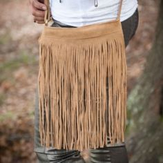 Tan suede all fringe cross body bag