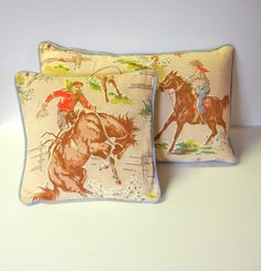 Two Vintage Pillows Horses Rodeo Ranch Boys Room Lodge Log Cabin Home Decor