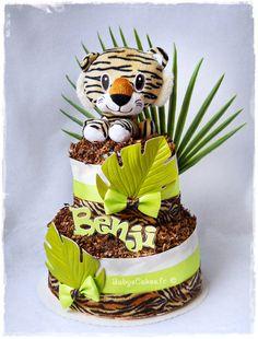 Gâteau de couches Pampers et son tigre peluche tout doux