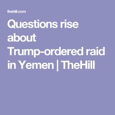 Questions rise about Trump-ordered raid in Yemen | TheHill