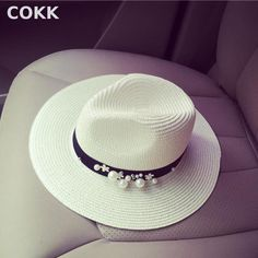 COKK New Spring Summer Hats For Women Flower Beads Wide Brimmed Jazz Panama  Hat Chapeu Feminino 0db21e75633