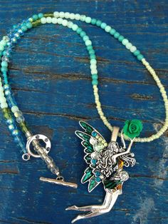 Beaded Fairy Necklace Green and Silver by EyeKandyJewellery, $30.00 Handmade jewellery