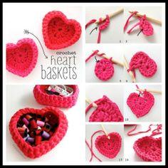 DIY Crochet Heart Shaped Storage Baskets | UsefulDIY.com