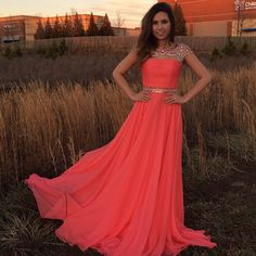 Water Melon Beaded Prom Dresses