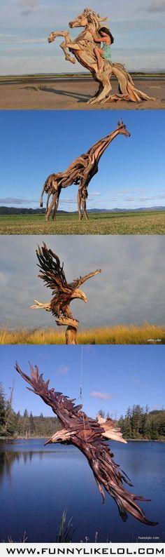 Amazing wooden sculptures.