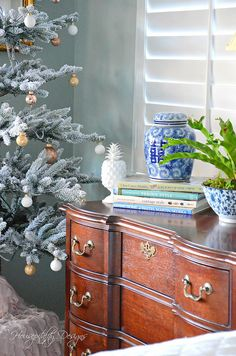 Christmas Master Bedroom with blue and white Housepitality Designs-