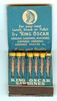 Vintage King Oscar Sardines feature frontstrike matchbook, New York World's Fair. Great fish. via eBay