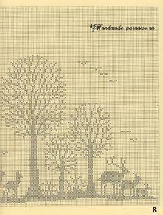 Лес. Филейные шторы крючком и вышивка (8)
