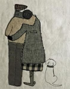 Made By Hand Online - A Quiet Moment stitched wallpiece by Janine Pope at madebyhandonline Freehand Machine Embroidery, Hand Embroidery Art, Free Motion Embroidery, Free Machine Embroidery, Embroidery Applique, Embroidery Stitches, Fabric Postcards, Fabric Cards, Wool Quilts