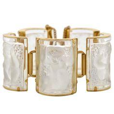 """LALIQUE Vintage Gold Plated """"Nysa"""" Crystal Bracelet"""