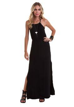 f9f79de85 Vestido Longo Alça Fina com Babado na cor preta com detalhe de elástico na  cintura.