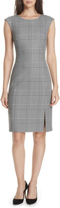 BOSS Deoboa Glen Plaid Sheath Dress Glen Plaid, Work Chic, Vintage Style Dresses, Street Outfit, Apparel Design, Nordstrom Dresses, Dress Backs, Classy Outfits, Look Fashion