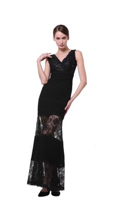 Modest Black Evening Gown Lace Plus Size Mother of Bride