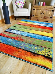 MULTI COLOURED STRIPE FUNKY BRIGHT MODERN THICK SOFT HEAVY QUALITY AREA RUG…