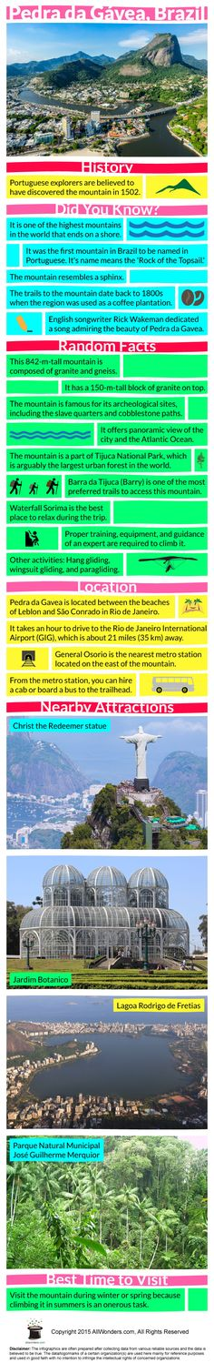 Infographic showing facts and information about Pedra Da Gavea. This gives you a comprehensive detail of the place.