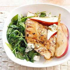 Turkey Steaks with Spinach, Pears, & Blue Cheese Treat yourself to this savory meal of turkey tenderloins seasoned with a sage rub and topped with grilled spinach. This quick dinner recipe is ready in under 30 minutes.