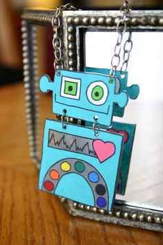 Teal Robot Necklace