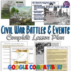 This Civil War Battles and Events Lesson Plan includes everything you need for an engaging, interactive lesson plan on the major battles and events of the Civil War! Everything you need for a complete 90-minute lesson is here from a Warm Up, PowerPoint, primary source letter, webquest, and exit tick... Civil War Activities, Teaching Activities, Exit Tickets, Primary Sources, American Civil War, Civilization, Worksheets, Battle, Events