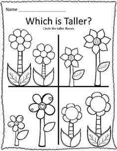 Short and tall worksheets for preschool for early math and
