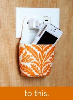 CLEVER!!!! Simple and cheap charging station.  Turn a old lotion, shampoo, etc. bottle into a charging station.