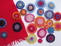 embellishments for recycled wool scarves