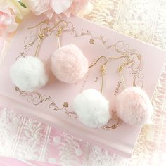 Buy directly from the world's most awesome indie brands. Kawaii Jewelry, Kawaii Accessories, Cute Jewelry, Baby Jewelry, Arte Indie, Cute Earrings, Dangle Earrings, Accesorios Casual, Faux Fur Pom Pom