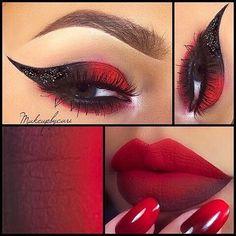 New nails matte red ombre lips Ideas Makeup Goals, Beauty Makeup, Queen Makeup, Makeup Art, Maquillage Harley Quinn, Red Ombre Lips, Red Lips, Devil Makeup, Halloween Eye Makeup