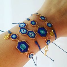 @handmade_by_selin #miyuki #bileklik #nazarboncuğu #handmade Beads Jewelry, Jewelery, Beaded Bracelets, Bead Crochet Rope, Evil Eye Jewelry, Brick Stitch, Jewelry Collection, Handmade Jewelry, Bracelets