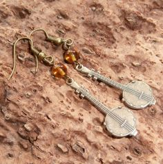 Dangly Bronze Banjo Earrings by MaggiesFarm on Etsy, $12.00