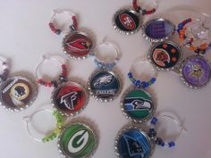 NFL and College Football decorations, glass charms, cupcake toppers, beer bottle charms and more..PICK YOUR TEAM