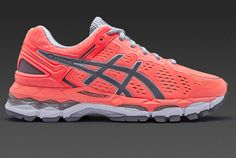 Asics Womens Gel-Kayano 22 - Flash Coral/Carbon/Silver Grey
