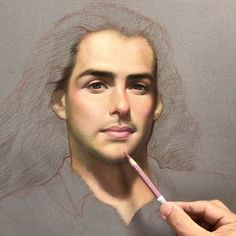 """Sean"", work in progress. Carbothello pastel pencil on sanded paper. #painting #art #drawing #portrait #carbothello #pastel #pastelpainting #realism #classical"