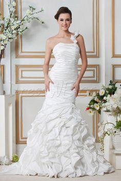 Удивительная труба / Русалка  свадебное платье Часовня драпированные Сандры 8871848 - Плюс Размер свадебные платья - Dresswe.Com