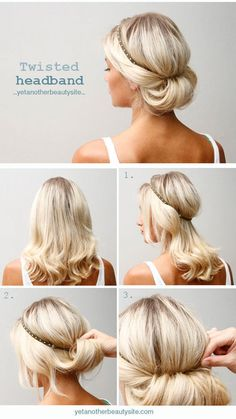 Headband Updo For more fashion and wedding inspiration visit www.finditforweddings.com Casual #wedding hairstyle