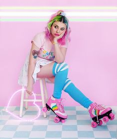"""My concept for this shoot was """"sad girl gets stood up at the roller rink"""" ✨ Roller Rink, Roller Disco, Roller Skating, Girl Photo Shoots, Girl Photos, Harajuku Fashion, Kawaii Fashion, Girl Outfits, Cute Outfits"""