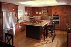 Kitchen:Creating Perfect Kitchen Design By Choosing Colors And Island Rightly Enchanting Perfect Small Kitchen Decoration Ideas Brown Varnished Kitchen Cabinet Black Backrest Stools Glass Flower Vase White Marble Island Countertop Hanging Pendant Lamp