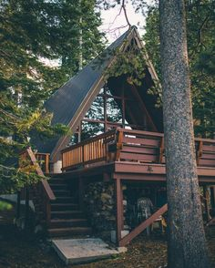 Beautiful A-frame cabin with gorgeous windows. Future House, A Frame Cabin, A Frame House, Tiny House Cabin, Cabin Homes, Tiny Homes, Small Log Cabin, Cozy Cabin, Cabins In The Woods
