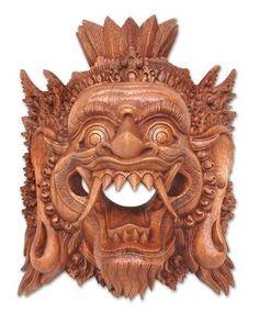 YAMA GOD of the DEAD Bali EXQUISITELY HAND CARVED Wood Sculpture MASK Novica ART