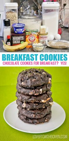 Chocolate Breakfast Cookies. These delicious cookies are made from similar ingredients as muffins, but cookies for breakfast is SO fun!