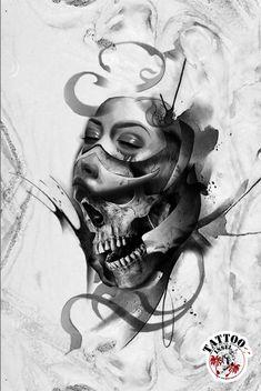 Skull Mask tattoo design tattoomotiv Skull Rose Tattoos, Skull Girl Tattoo, Lion Head Tattoos, Girl Face Tattoo, Rabbit Tattoos, Girl Tattoos, Clock Tattoo Design, Lion Tattoo Design, Tattoo Design Drawings