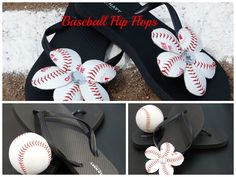 How To Make Baseball Flip Flops, Baseball Flip Flop Flowers. Learn how to make baseball flower flip flops. These DIY baseball flip flops are super cute and easy to make. Flip Flops Diy, Baseball Season, Baseball Mom, Baseball Stuff, Baseball Tips, Dodgers, Baseball Party Favors, Cute Crafts, Diy Crafts