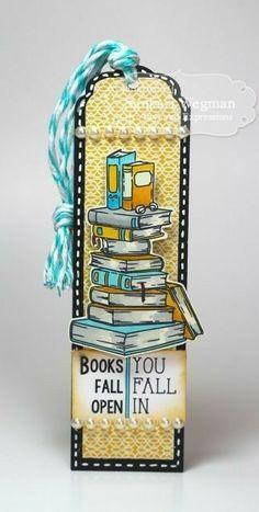 Books Fall Open Bookmark by Sankari Wegman Creative Bookmarks, Cute Bookmarks, Paper Bookmarks, Bookmark Craft, Watercolor Bookmarks, Corner Bookmarks, Harry Potter Bookmark, Diy And Crafts, Paper Crafts