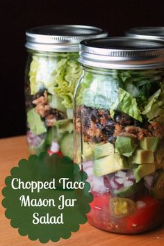 Trade in the typical fried tortilla bowl for a mason jar to make your next taco salad a healthy lunch.