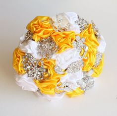 Yellow and Ivory Brooch Fabric Bouquet with crystal diamante & pearl brooches and satin handmade flowers -  Medium