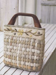 No.34 PDF Pattern of How to Basket Weaved handbag purse wallet pouch bag quilt applique patchwork gift handmade