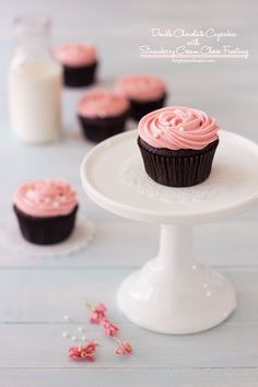 *Double Chocolate Cupcakes with Strawberry Cream Cheese Frosting .