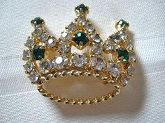 Vintage Crown Brooch with Emerald Green and by DodosVintageJewelry,  15.00