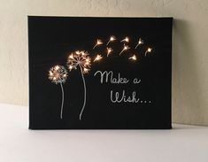 Light Up Canvas Chalkboard - Canvas with Lights - Make a Wish - Lights in Canvas - Nursery Decor - Bedroom Decor - Sign with Lights