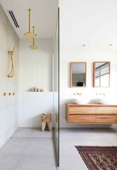 Bathroom Styling, Bathroom Interior Design, Home Interior, Interior Colors, Timber Vanity, Timber Bathroom Vanities, Concrete Bathroom, Bathroom Mirrors, Bathroom Cabinets