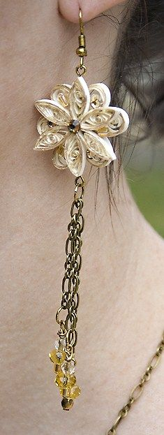 Earring and crystal.  Good use of old chain.